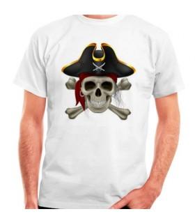 T-shirt Branca Pirata, manga curta