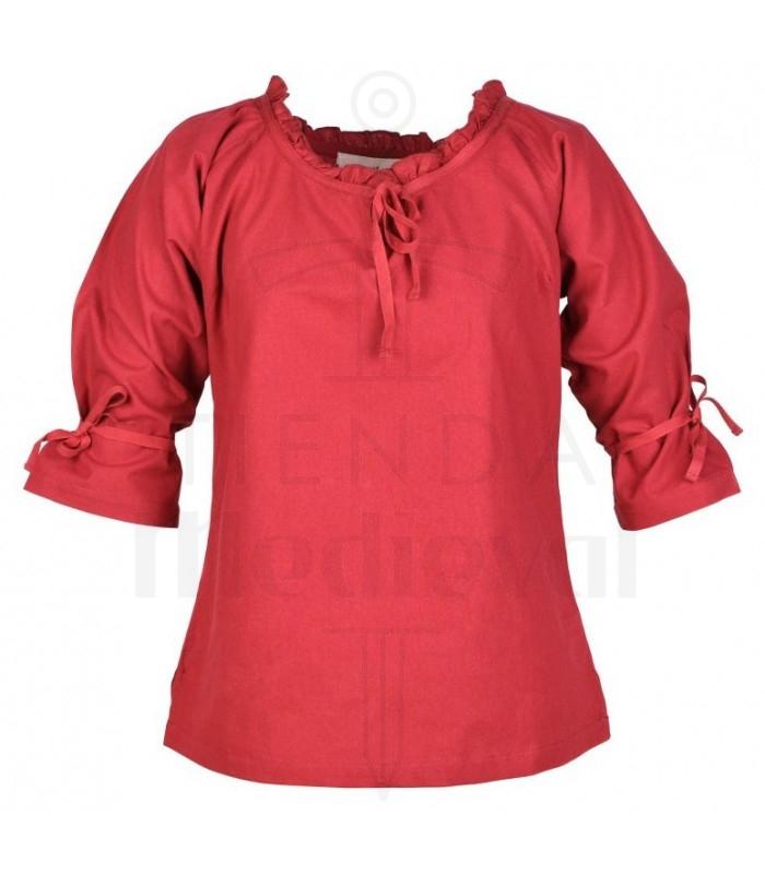 Blusa medieval mulher Birga, vermelho