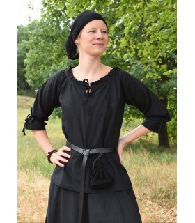 Blusa medieval mulher Birga, preto