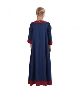 Vestido medieval Gudrun, azul-vermelho