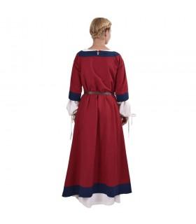 Vestido medieval Gudrun, vermelho-azul