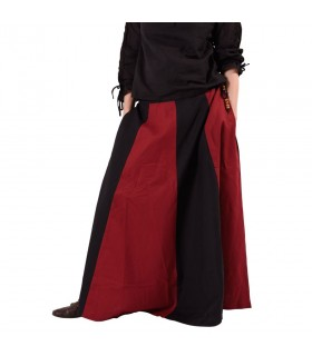 Saia medieval longa vermelho-preto