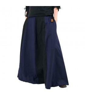 Saia medieval longa azul-preto
