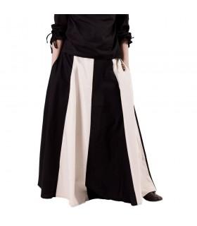 Saia medieval longa branco-preto