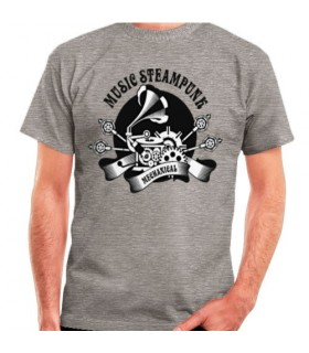 T-shirt Cinza SteamPunk, manga curta
