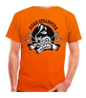 T-shirt Laranja SteamPunk, manga curta