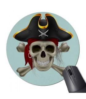 Tapete De Rato Redonda Caveira Pirata