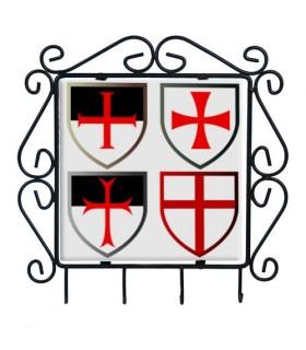 Cabide de chaves com Cruzes Templarias