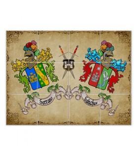 Mosaico de Azulejos Escudos Heráldicos 2 Sobrenomes (com fundo)