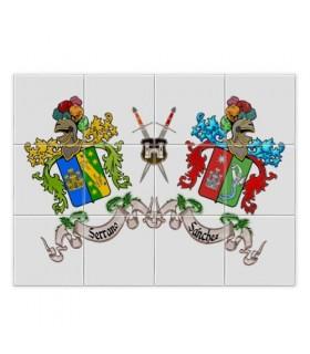 Mosaico de Azulejos Escudos Heráldicos 2 Sobrenomes (sem fundo)