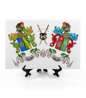 Telha Escudos Heráldicos com 2 Sobrenomes (30x20 cms.)