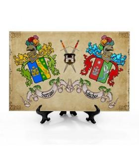 Telha Escudos Heráldicos com 2 Sobrenomes com fundo (30x20 cms.)