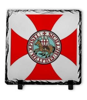 Escudo dos Cavaleiros Templários em Pedra Ardósia (20x20 cm)