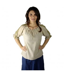 Blusa medieval laços, 2 cores (marrom-creme)