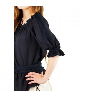 Blusa medieval laços, 2 cores (vermelho-preto)