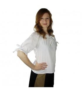 Blusa medieval branca laços