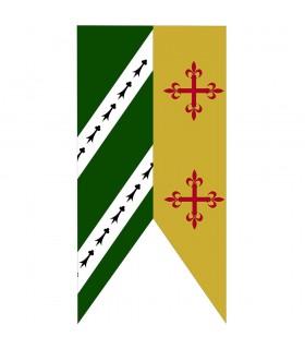 Bandeira Bicolor Verde-Mostarda Cruzes Medievais