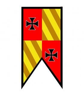 Estandarte Medieval Cuartelado picos Cruzes Templarias
