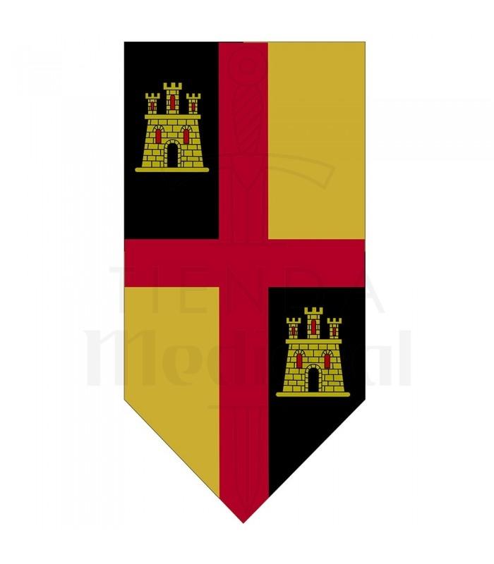 Estandarte Medieval Cruz com Castelos