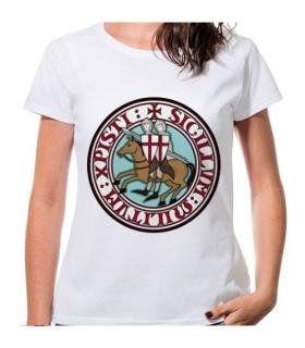 T-shirt Mulher Branca Cavaleiros Templários, manga curta