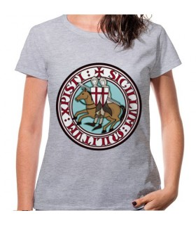 T-shirt Mulher Cinza Cavaleiros Templários, manga curta