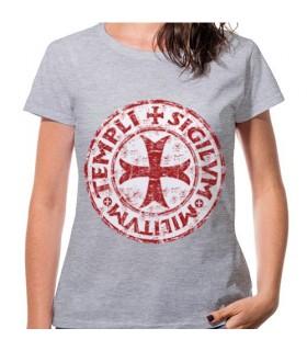 T-shirt Mulher Cinza Cruz dos Templários, manga curta