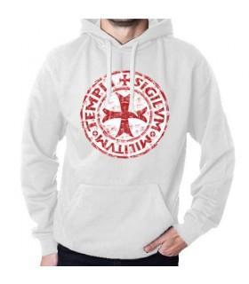 Camisola Branca Cavaleiros Templários com Capuz