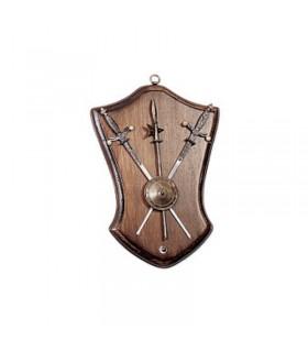 Panóplia espada, escudo e albarda