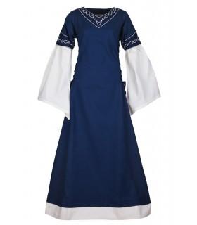 Vestido medieval Alvina, azul-branco