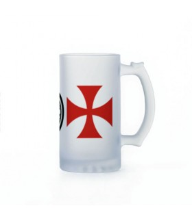 Jarro de Cerveja Cavaleiros Templários, vidro translúcido