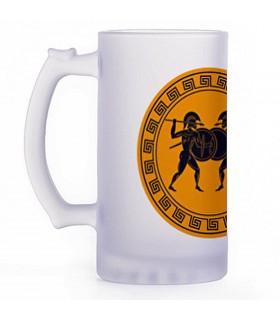 Jarro de Cerveja lutadores gregos, vidro translúcido
