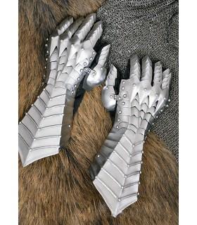 Manoplas medievais articulados, aço 1,3 mm.