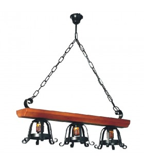 Lâmpada forjamento medieval madeira, várias luzes