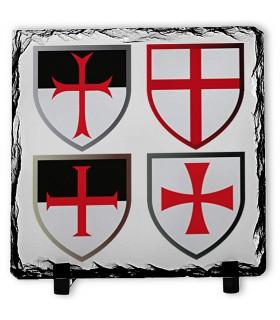 Cruzes Cavaleiros Templários sobre Pedra de Xisto (20x20 cms.)