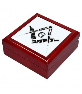 Caixa-porta-Jóias símbolos maçônicos (13,8x13,8 cm)