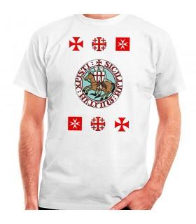 T-shirt Cavaleiros Templários com Cruzes, manga curta