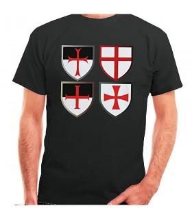 T-shirt preta Cruzes Templarias, manga curta