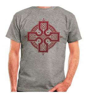 T-shirt Cinza, Cruz Celta, manga curta