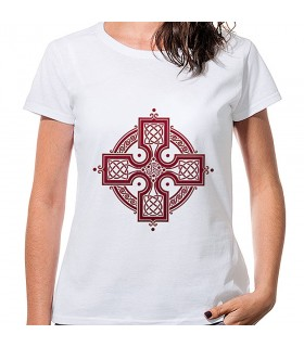 T-shirt Mulher Branca Cruz Celta, manga curta