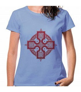 T-shirt Mulher Azul, Cruz Celta, manga curta