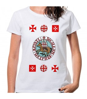 T-shirt Mulher Branca Templários com cruzes, manga curta