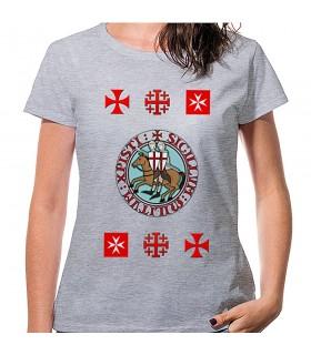 T-shirt Mulher Cinza Templários com cruzes, manga curta
