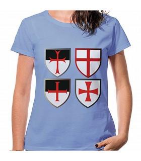 T-shirt Azul Cruzes Cavaleiros Templários, manga curta