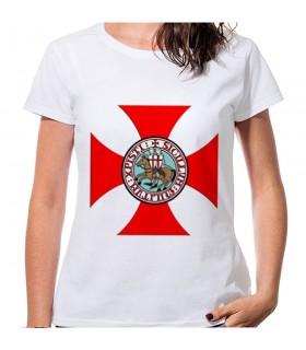 T-shirt Cruz Templários Mulher manga curta-várias cores