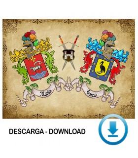 Pergaminho Virtual escudo de armas 2 sobrenomes (sem descrição)