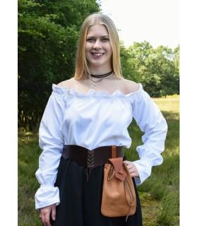 Blusa medieval branca manga longa, Carmen