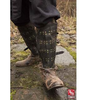 Guarda-pernas de couro soldado medieval