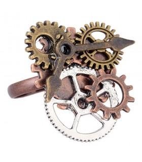 Anel ajustável SteamPunk engrenagens do relógio