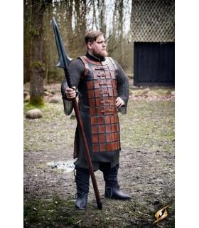 Brigantina medieval longa de couro