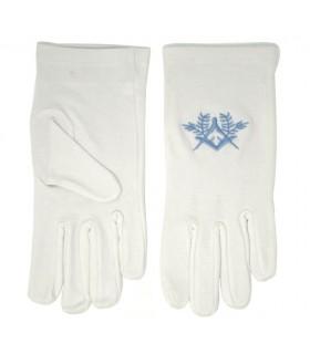 Luvas brancas maçônicos com esquadro, compasso bordados